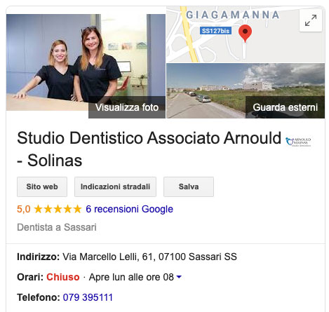 Google My Business per studi dentistici